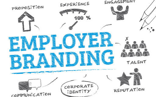 Employer branding. Chart with keywords and icons